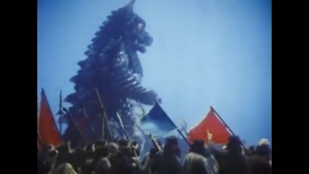 Onward! Comrade Pulgasari along with People's Army march to crush feudalism.
