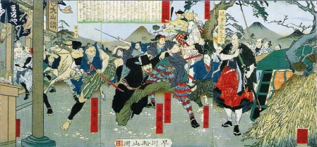 生麦事件 Namamugi-jiken, para samurai Satsuma marah pada pedagang Inggris yang tidak memberi hormat pada mereka.