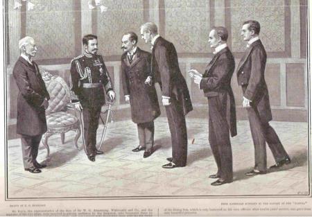 Kaisar Meiji menerima utusan asing. Modernisasi Jepang di Era Meiji membawa negeri ini setara dengan Eropa.